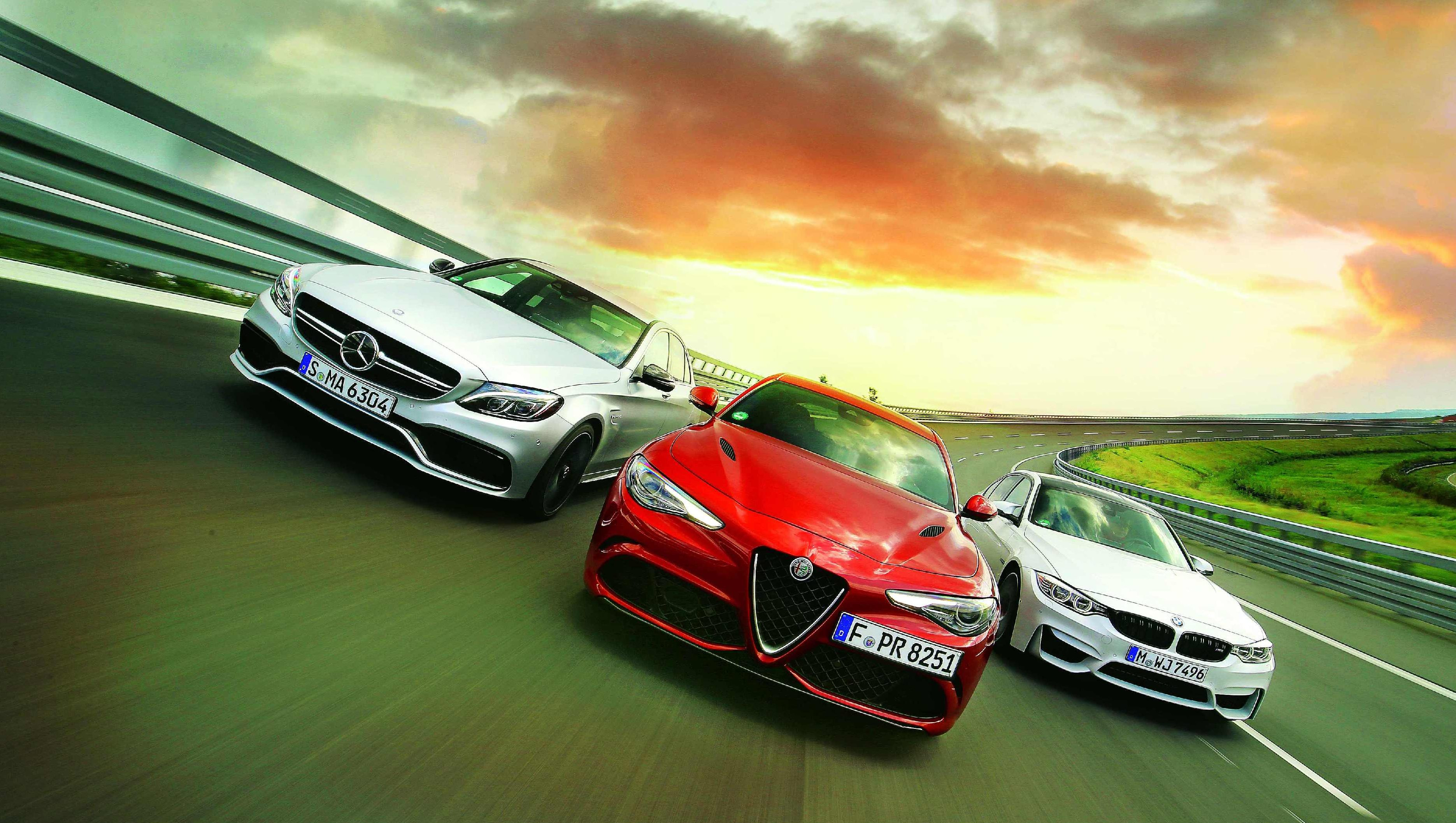 Image for Usporedni test Alfa Romeo Giulia QV vs. BMW M3 Competition vs. Mercedes-AMG C63 S